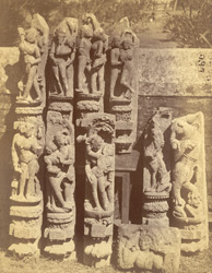 Group of sculptured pilaster figures representing amorous scenes, from the Surya Temple or Black Pagoda, Konarka 1003361